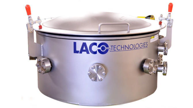 Custom high vacuum chamber with dished lid and digital gauge