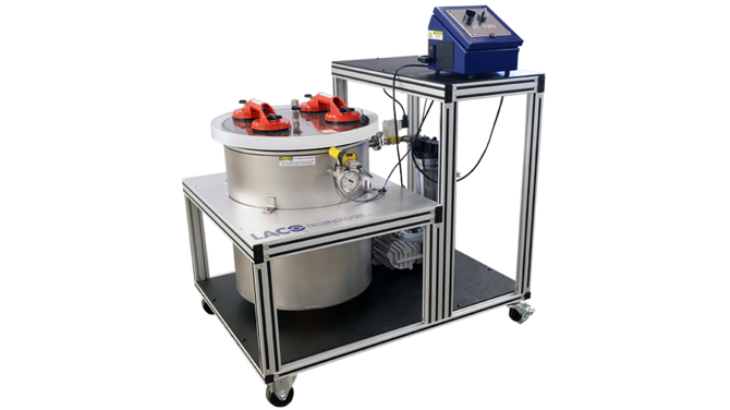 Custom Vacuum Degassing System with recessed chamber and suction cup handles