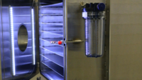 Vacuum drying chamber with adjustable shelves and internal LED lighting