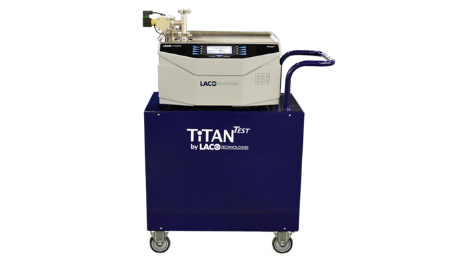 TitanTest P-Series Production Leak Detector with Cart and optional stainless steel work surface, rear view