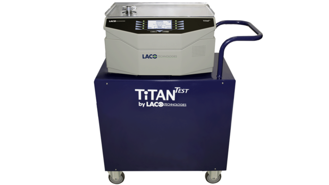 TITANTEST P-Series Helium Leak Detector on cart with external dry 16 CFM pump