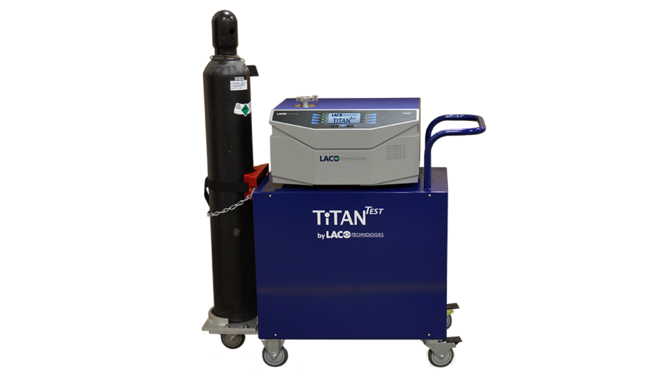 TITANTEST production helium leak test system with high pressure helium cylinder