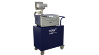 Flapper leak test chamber shown integrated with TITANTEST Leak Detector on cart