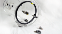 LVC1218-1112-VC Vertical clear vacuum chamber shown with optional power port and spare port